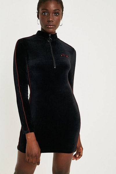 FILA Heidi Black Velour Mini Dress