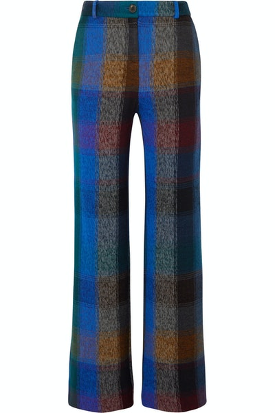 Checked Wool-Blend Wide-Leg Trousers