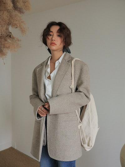 Notched Lapel Herringbone Jacket