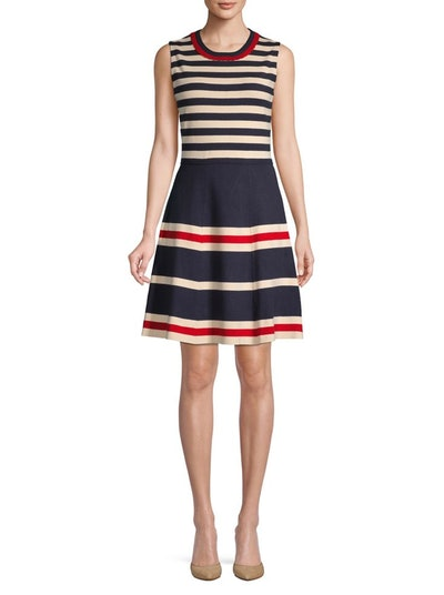 Anne Klein Striped Fit-&-Flare Dress