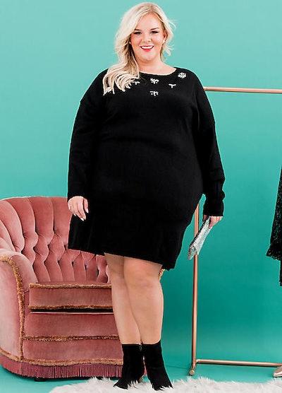 Sheego Jewel Detail Knitted Dress
