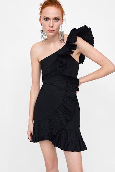 Dress With Gathered Ruffles