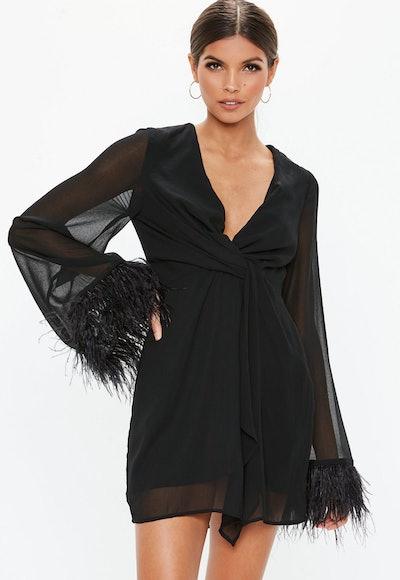 Sheer Feather Trim Shift Dress
