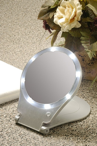 Floxite LED Lighted Travel and Home Magnifying Mirror