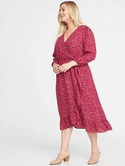 Waist-Defined Plus-Size Faux-Wrap Georgette Dress