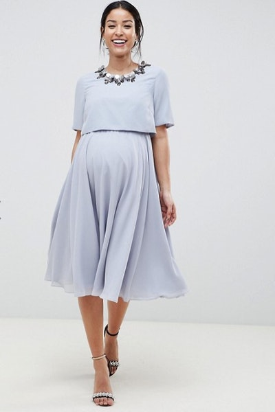 Maternity Nursing 3D Embellished Midi skater dress