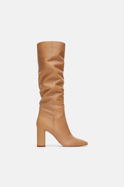 High-Heeled Leather Boots