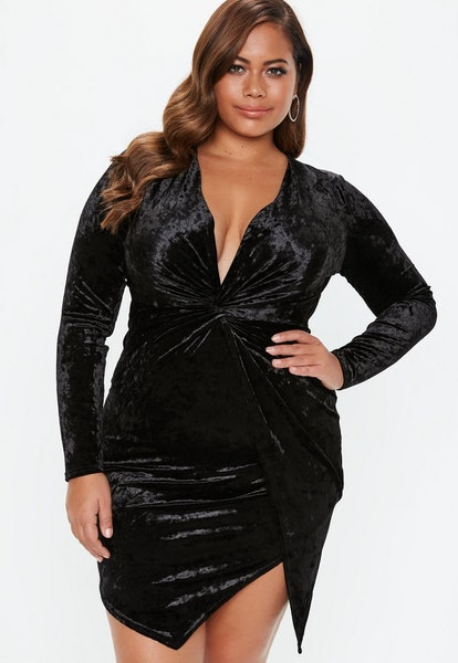 plus size black velvet twist front mini dress