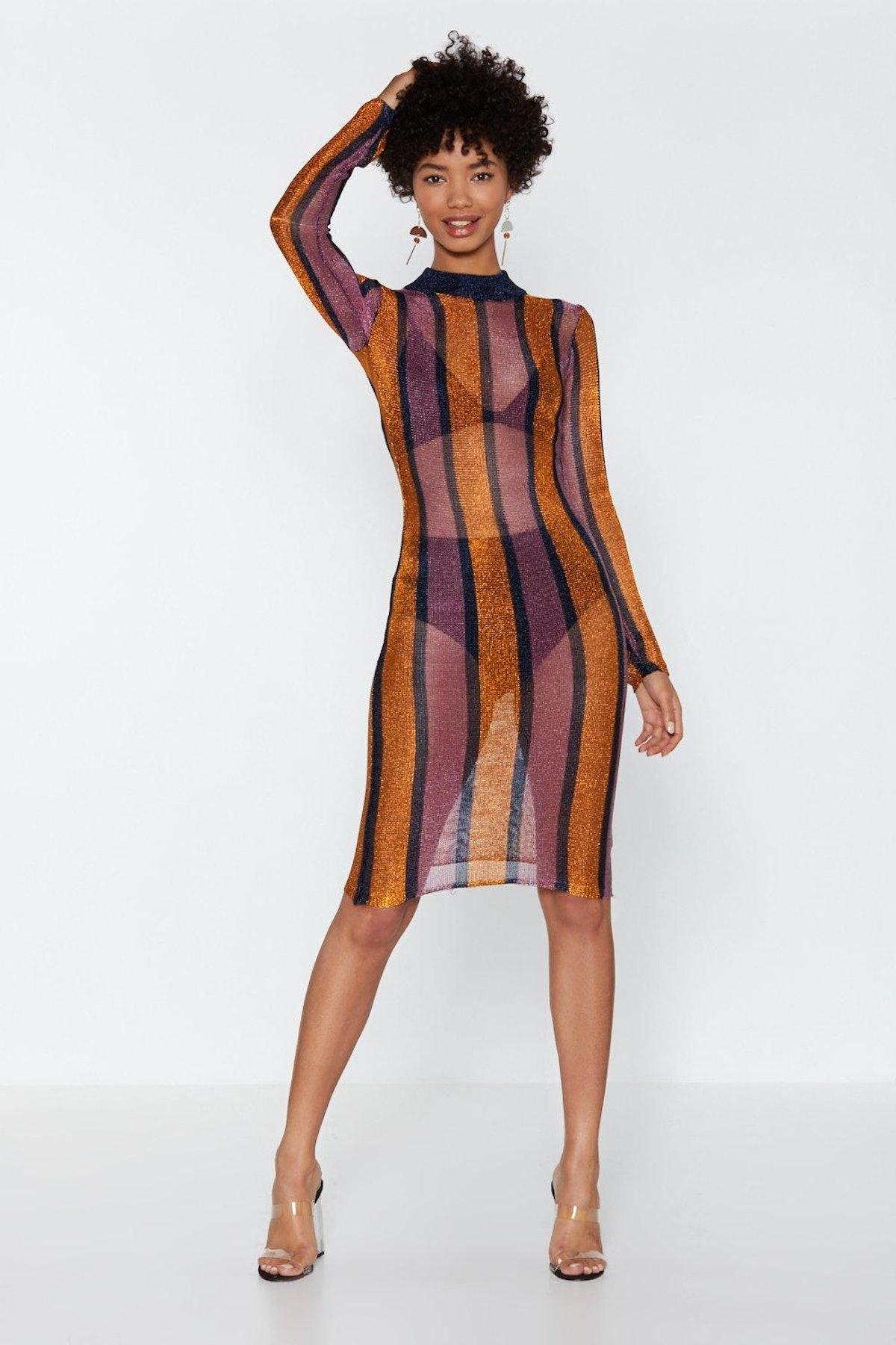 Bring Me the Disco Glitter Striped Dress