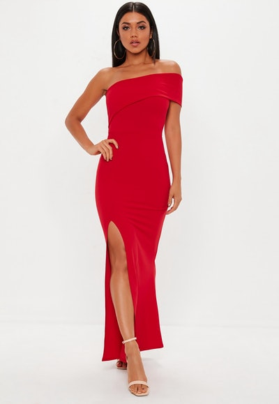 Red One Shoulder Maxi Dress