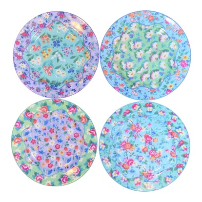 Set of 4 Vintage Floral Chintz Plates