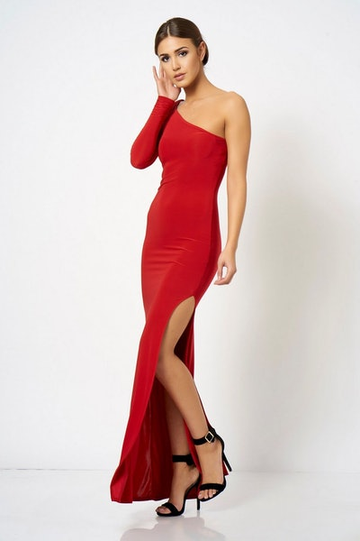 Slinky One Shoulder Maxi Dress by Club L London