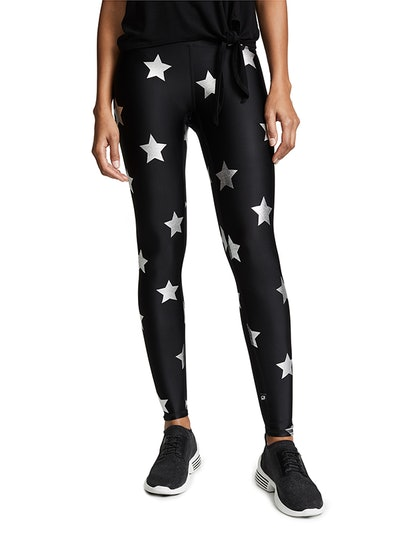 Silver Star Foil Printed Leggings