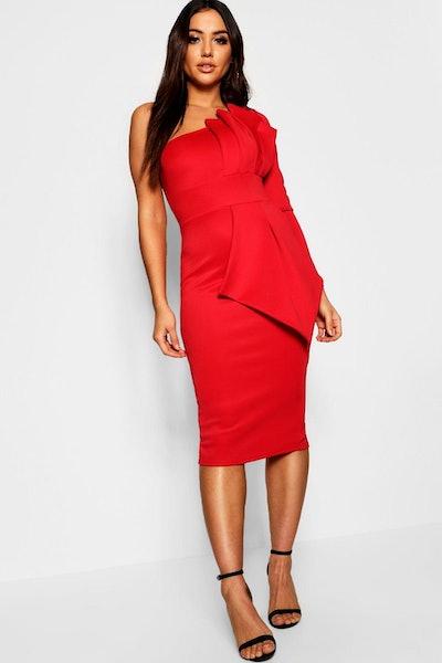 One Shoulder Pleat Detail Midi Dress