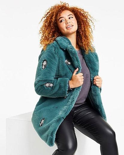 Jewel Trim Fur Coat