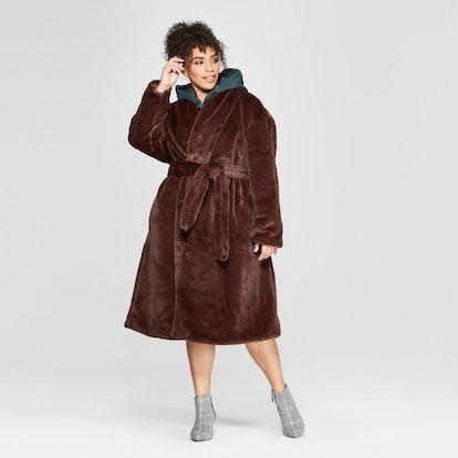 Women's Plus Size Faux Mink Robe Coat
