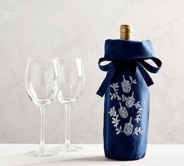 Embroidered Hanukkah Wine Bag