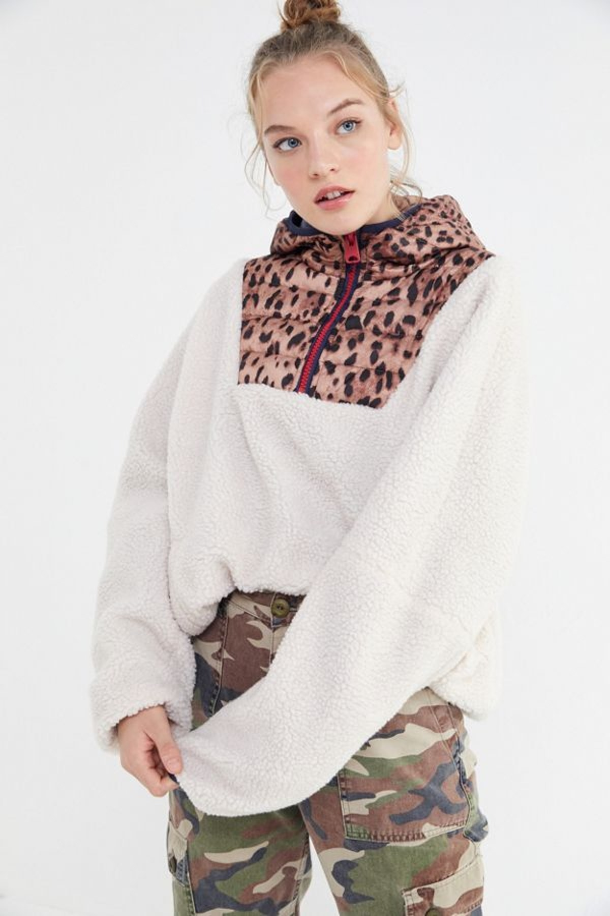 UO Hooded Fleece Popover Jacket