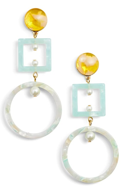 Lele Sadoughi Cage Imitation Pearl Drop Earrings