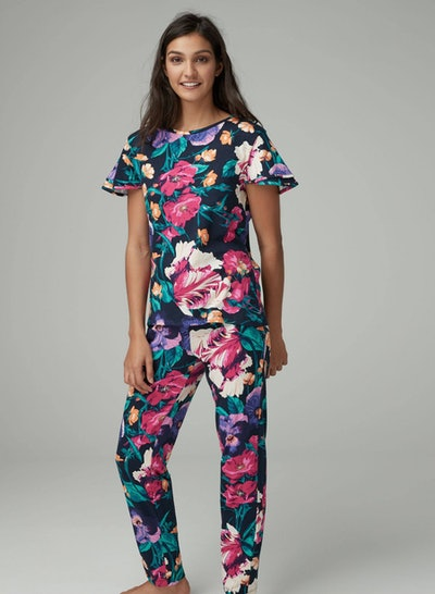 Black Floral Cotton Blend Pyjamas With Ribbon Wrapping
