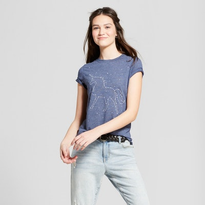 Juniors' Galaxy Unicorn Short Sleeve Crew Neck T-shirt
