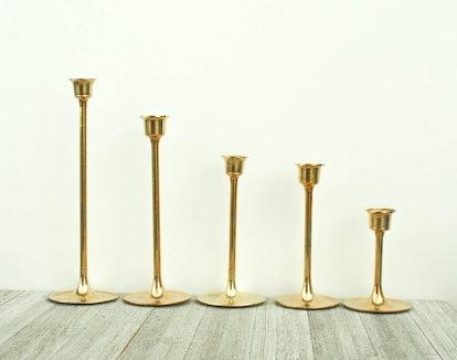 Vintage Brass Candlesticks Set of 5