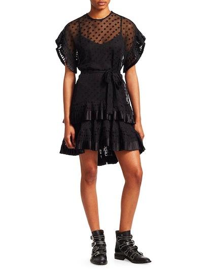 Illusion Polka Dot Mini Dress