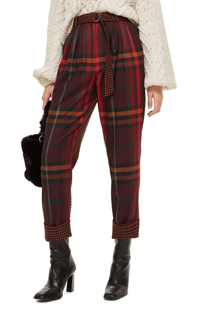 Belted Mixed Check Trousers