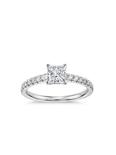 French Pavé Diamond Engagement Ring