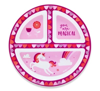 "Cheeky Plastic Divided Kids Plate 8.3"" Unicorn"