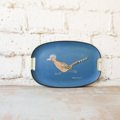 Vintage Serving Tray, 1960s Retro Mod Turquoise Blue Handled Roadrunner Bird Tray