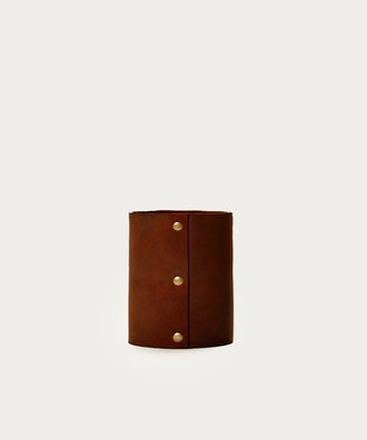 Small Leather Rivet Vase in Saddle