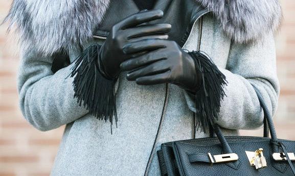REAL LEATHER WOMEN/'S WINTER WARMING GLOVES INSIDE FUR LADIES DRESS FASHION