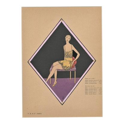 Matted French Art Deco Vintage Lingerie Fashion Pochoir