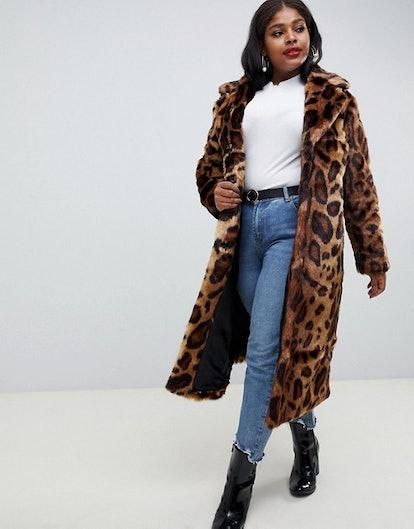 Maxi Faux Fur Coat in Leopard