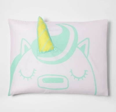 Green Unicorn Pillow Case