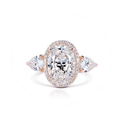 Vintage Diamond Engagement Ring with Pear Side Diamonds