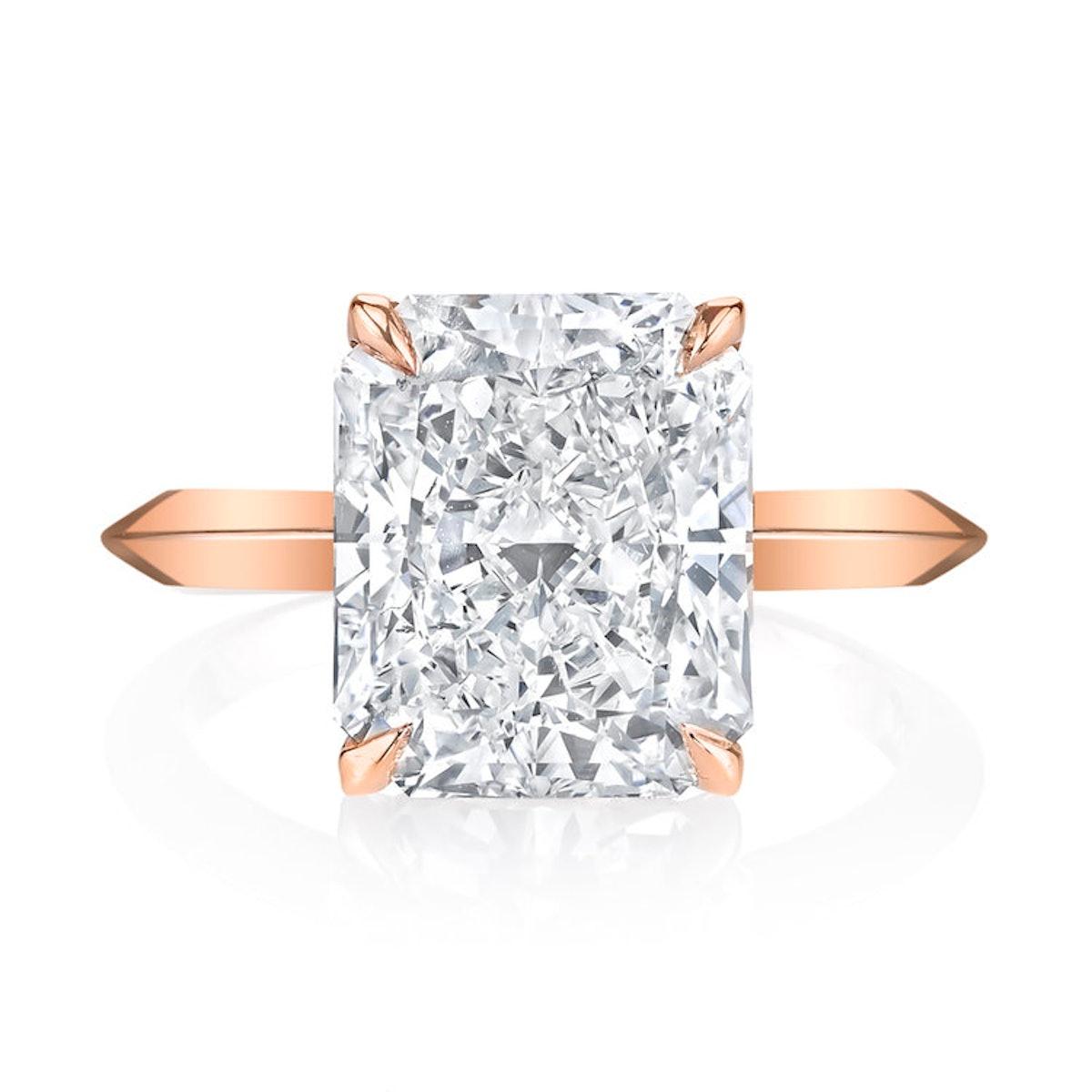 Radiant Cut Rose Gold Engagement Ring