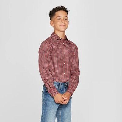 Boys' Tartan Long Sleeve Button-Down Shirt - Cat & Jack™ Red