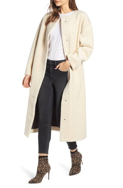 Something Navy Long Faux Shearling Coat
