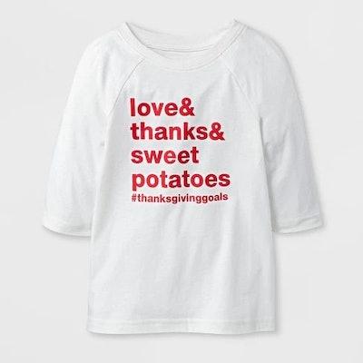 "Toddler 3/4 Sleeve ""Love & Thanks & Sweet Potatoes"" Raglan T-Shirt - Cat & Jack™ Almond Cream"