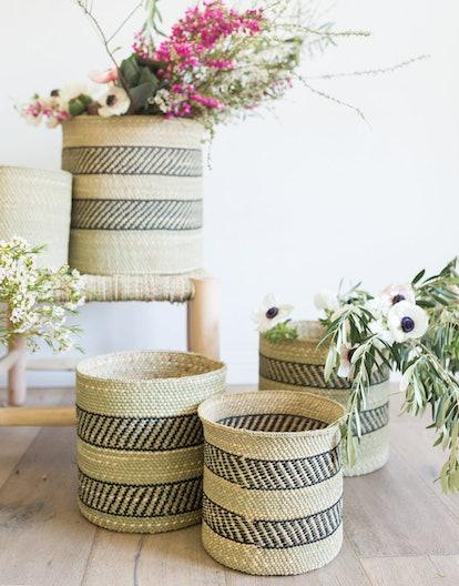 Natural Iringa Basket - Black Stripe