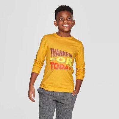 Boys' Long Sleeve Thankful Graphic T-Shirt - Cat & Jack™ Yellow