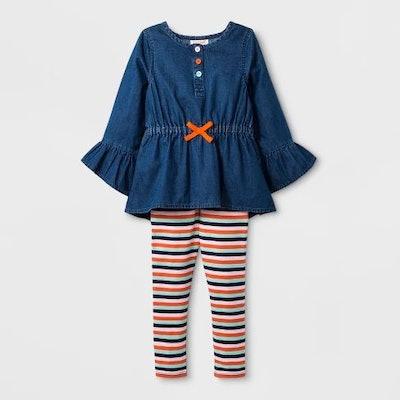 Toddler Girls' Denim Top and Stripe Bottom Set - Cat & Jack™ Blue