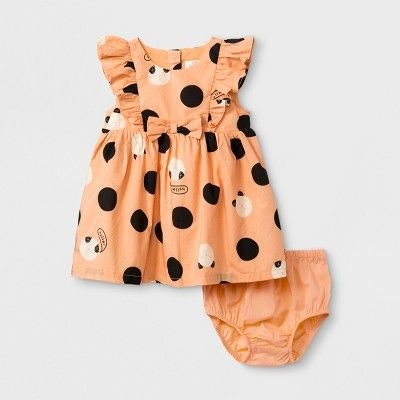 Baby Girls' Sleeveless Poplin Dot Bow Dress - Cat & Jack™ Orange