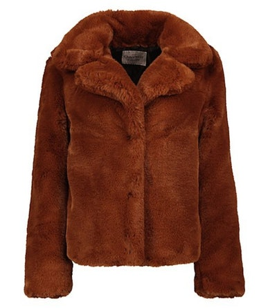Burnt Orange Faux Fur Coat