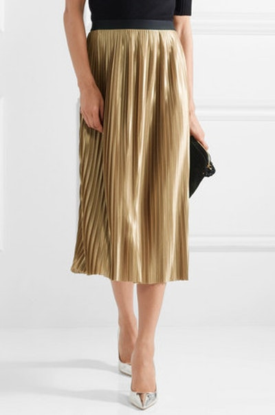 Verlano Pleated Satin Midi Skirt