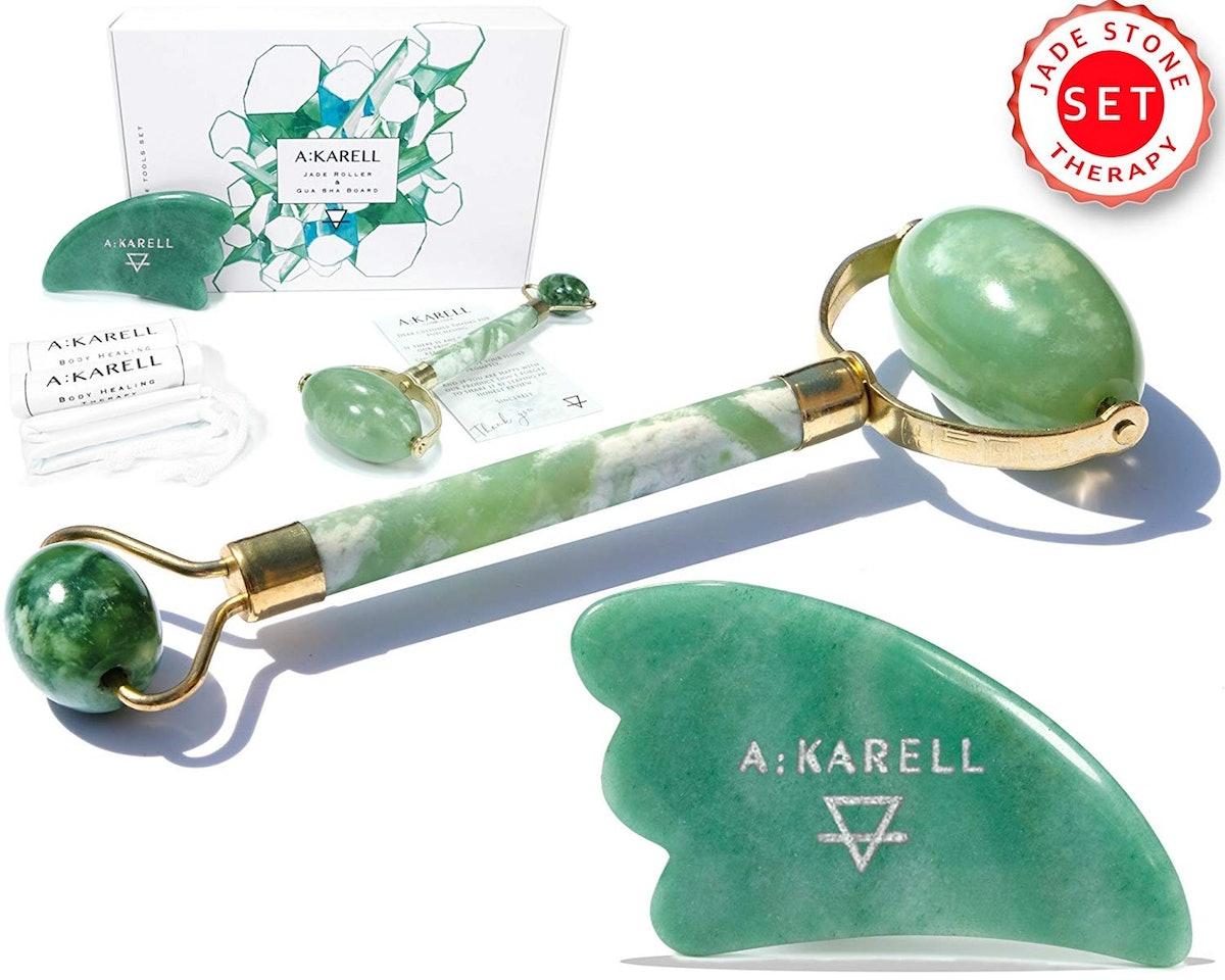 Akarell Jade Roller And Gua Sha Set