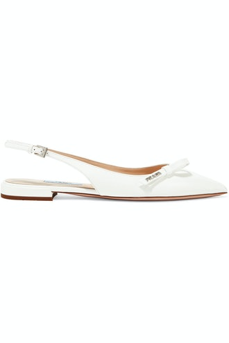Textured-Leather Slingback Flats