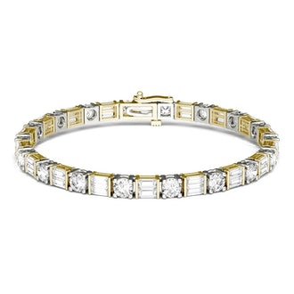 Forever One 8.32CTW Baguette & Round Colorless Moissanite Tennis Bracelet in 14K Two-Tone Gold - 7 I...